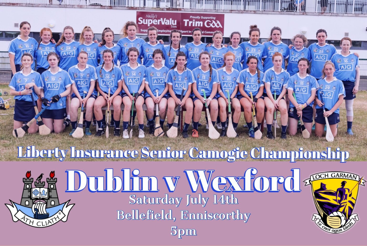 Promotional Poster For the Dublin senior camogie teams latest championship clash against Wexford which features a photo of the whole squad in sky blue jerseys and navy skorts