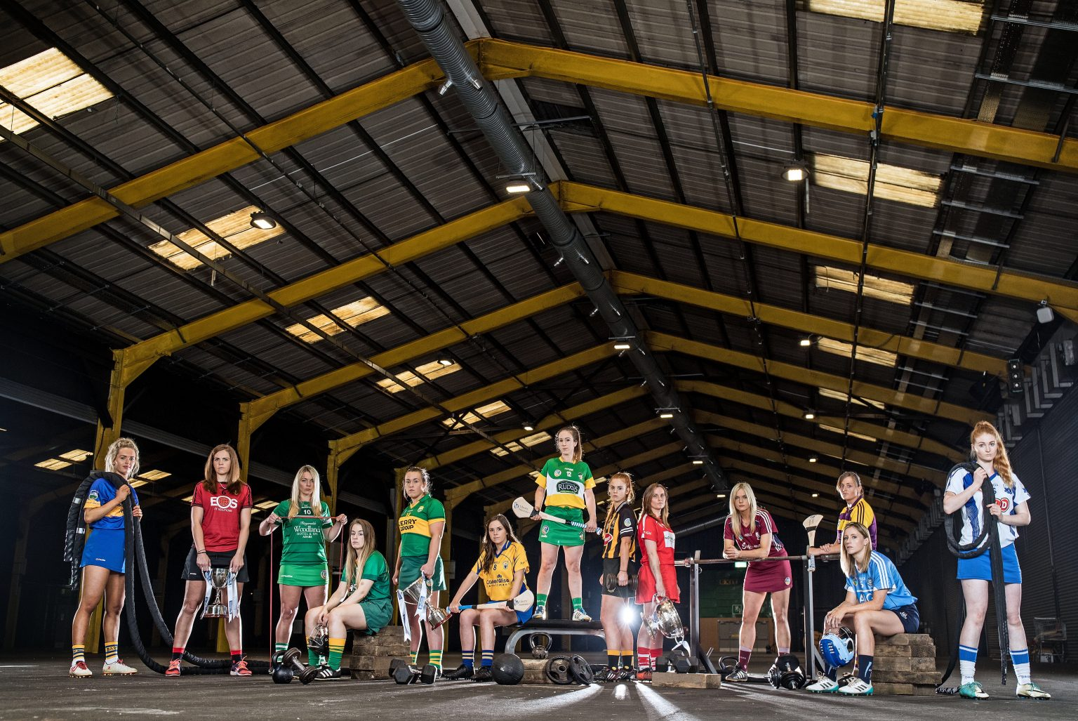 Promotional photo for the Liberty Insurance All Ireland Camogie Championship featuring 12 players in their county strips in a hangar