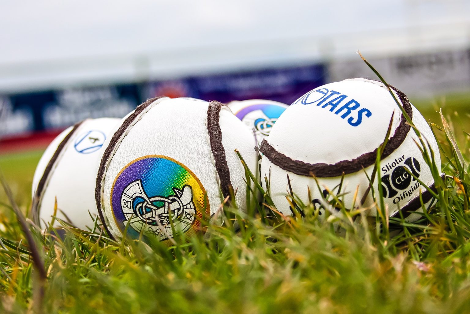 Four white sliotars with the Camogie crest on them sitting on a patch of green grass to promote the Dublin Camogie Adult Club Championship Draws