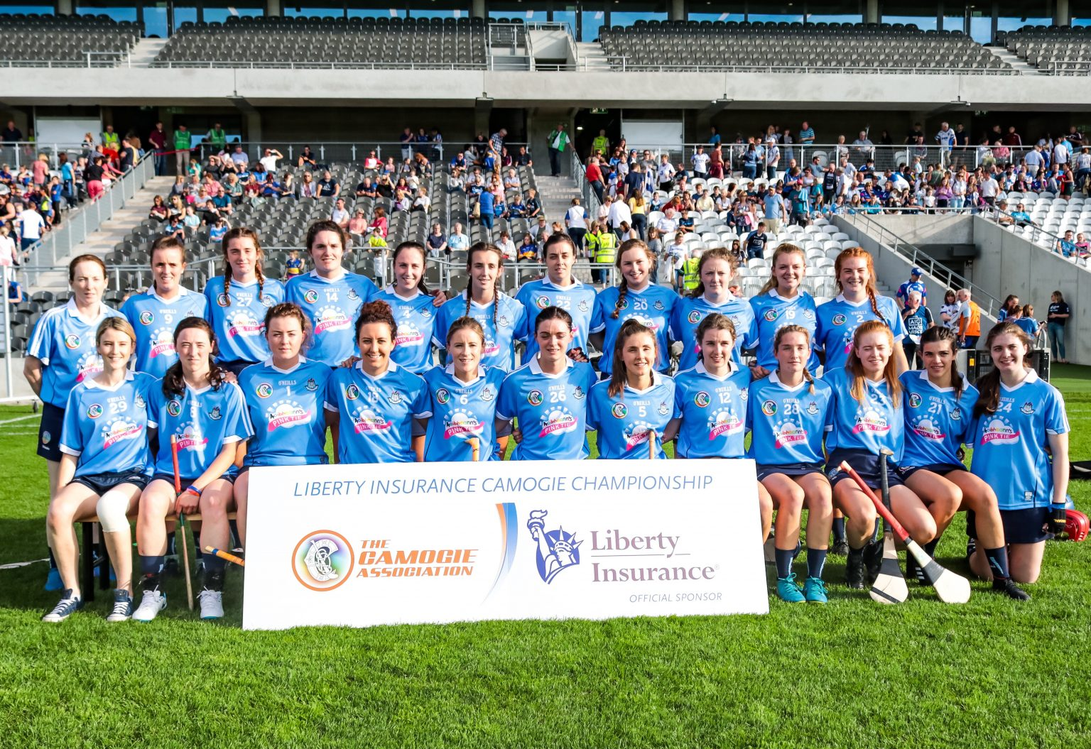 Squad photo of the Dublin Senior Camogie Squad in sky blue jerseys and navy skorts ahead of their All Ireland Quarter Final which they lost to Galway