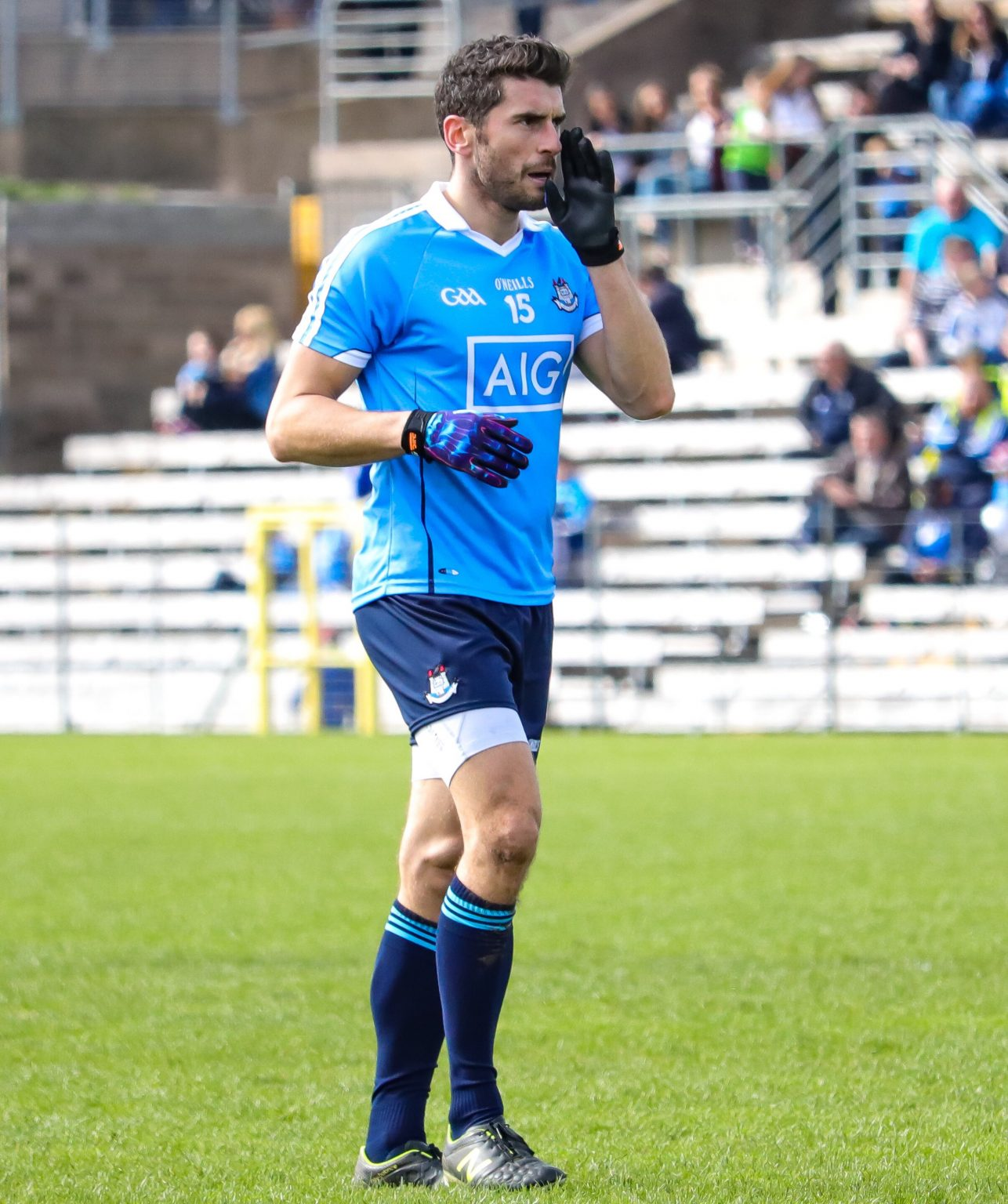 The determination and dedication of Bernard Brogan seen the Dublin footballer pictured above in a Sky Blue Jersey and navy shorts return to action less than six months after a cruciate injury.