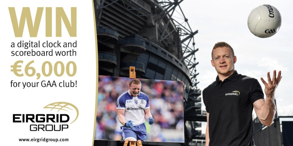 GAA Footballer in a black top throwing a ball in the air beside a photo of himself playing to advertise the EirGrid GAA Moment In time competition