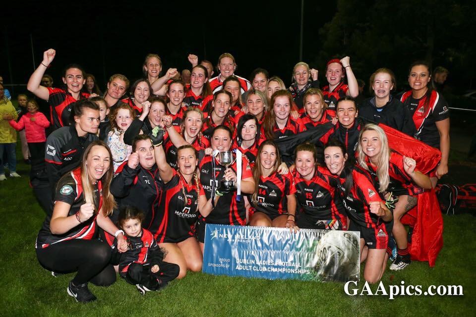 Wanderers Ladies football team celebrating after winning the Dublin LGFA Junior F Ladies Football Title