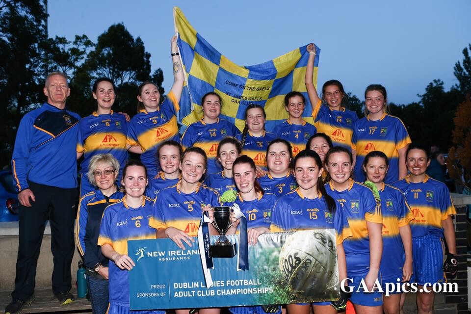 St James Gaels Celebrate Winning The Dublin LGFA Junior G Club Championship Title.
