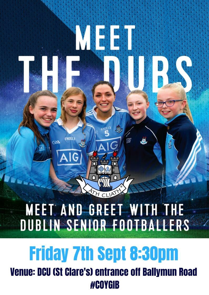Poster advertising the Dublin Senior Ladies Footballers Meet and Greet night with fans.