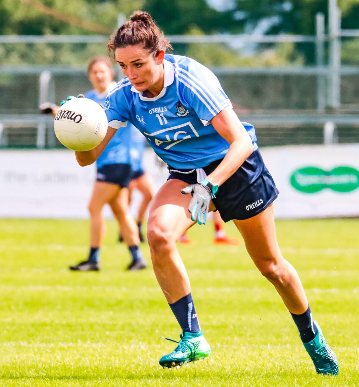 Dublin Ladies Footballer Niamh McEvoy i. A sky blue jersey and navy shorts says she would never swap a Dublin Jersey after a game