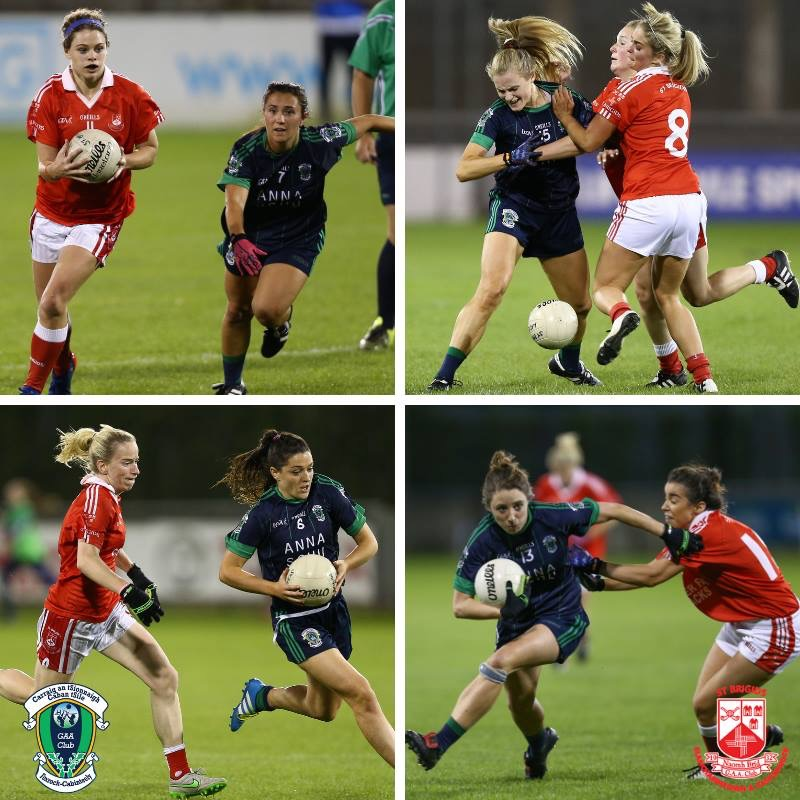 Action shots of Foxrock Cabinteely and St Brigids ladies footballers who face each other in the Senior Championship Final