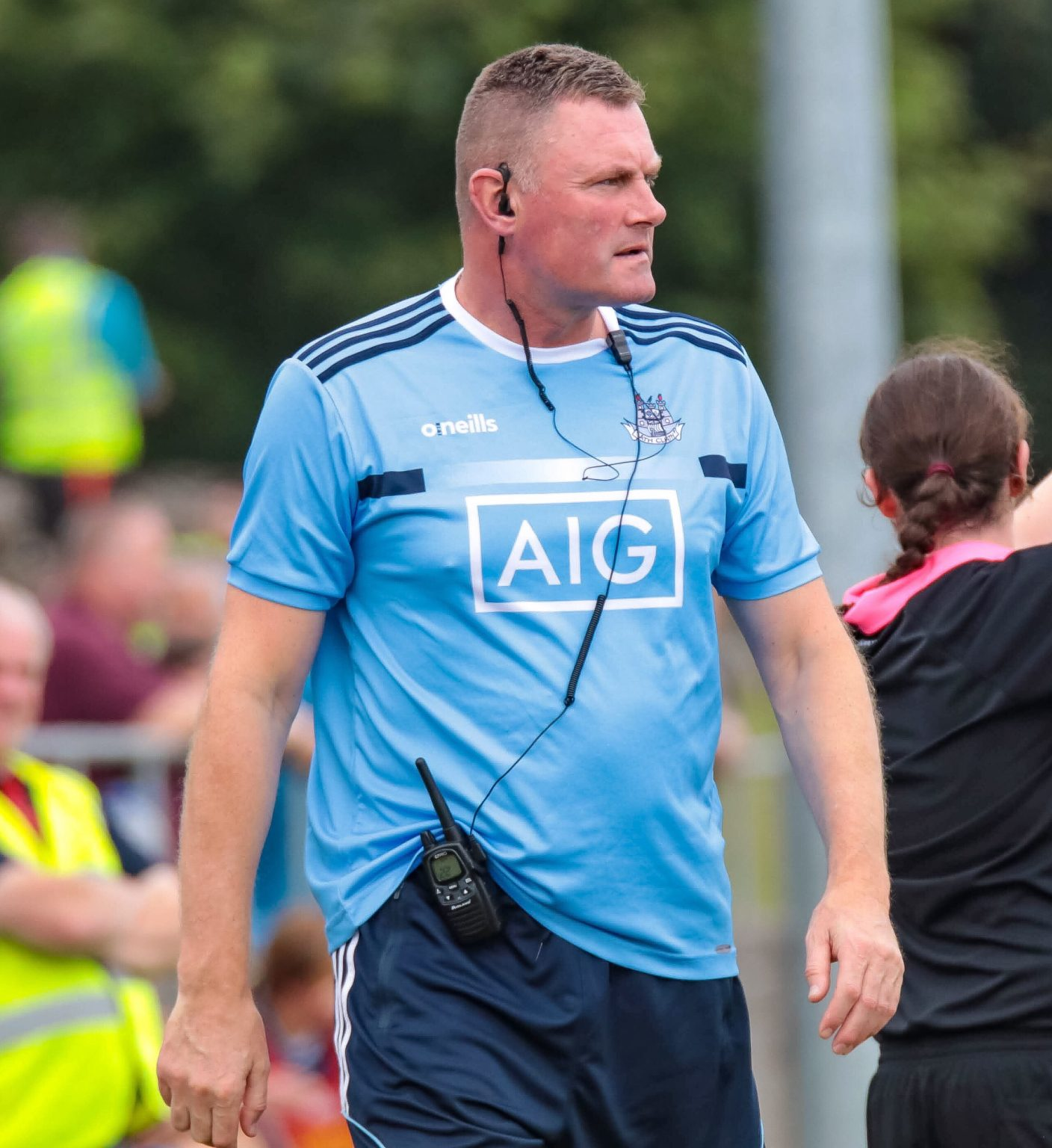Dublin Manager Bohan in a sky blue top patrolling the sideline