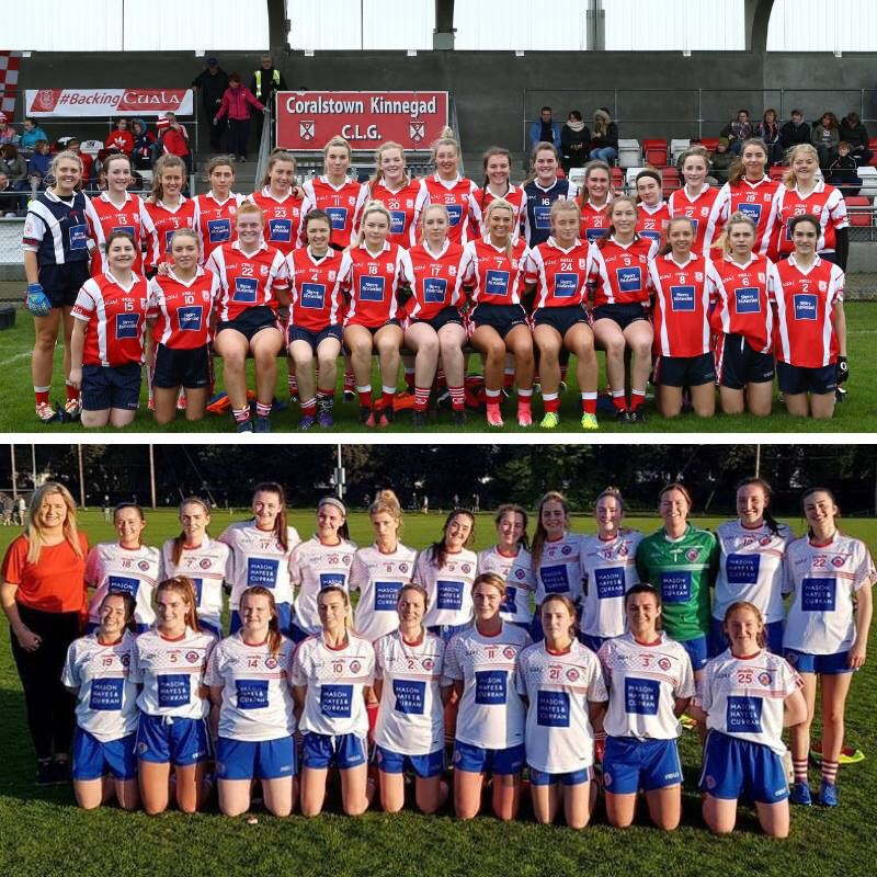 The Cuala and Clontarf Ladies football squads who face off against each other in the Dublin LGFA Intermediate Championship Final