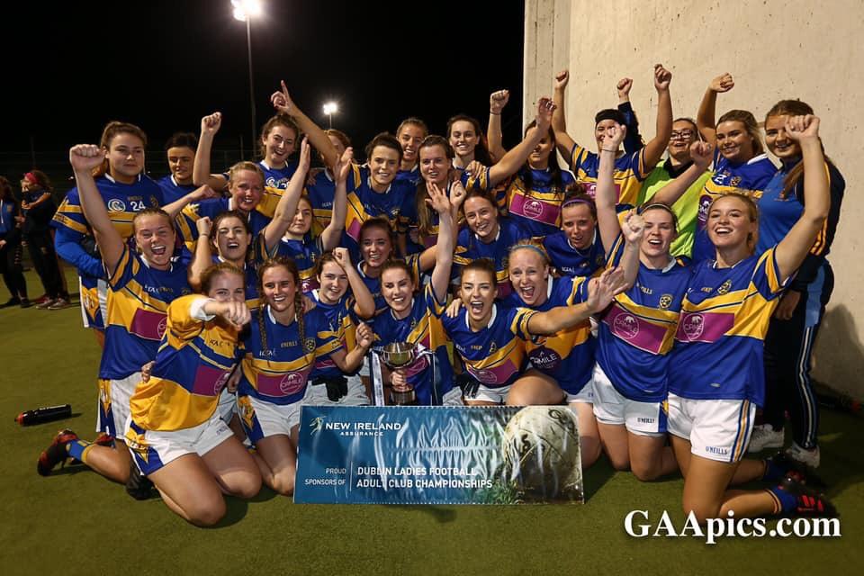 Castleknock Ladies Footballers celebrating being crowned Dublin Ladies Junior Champions