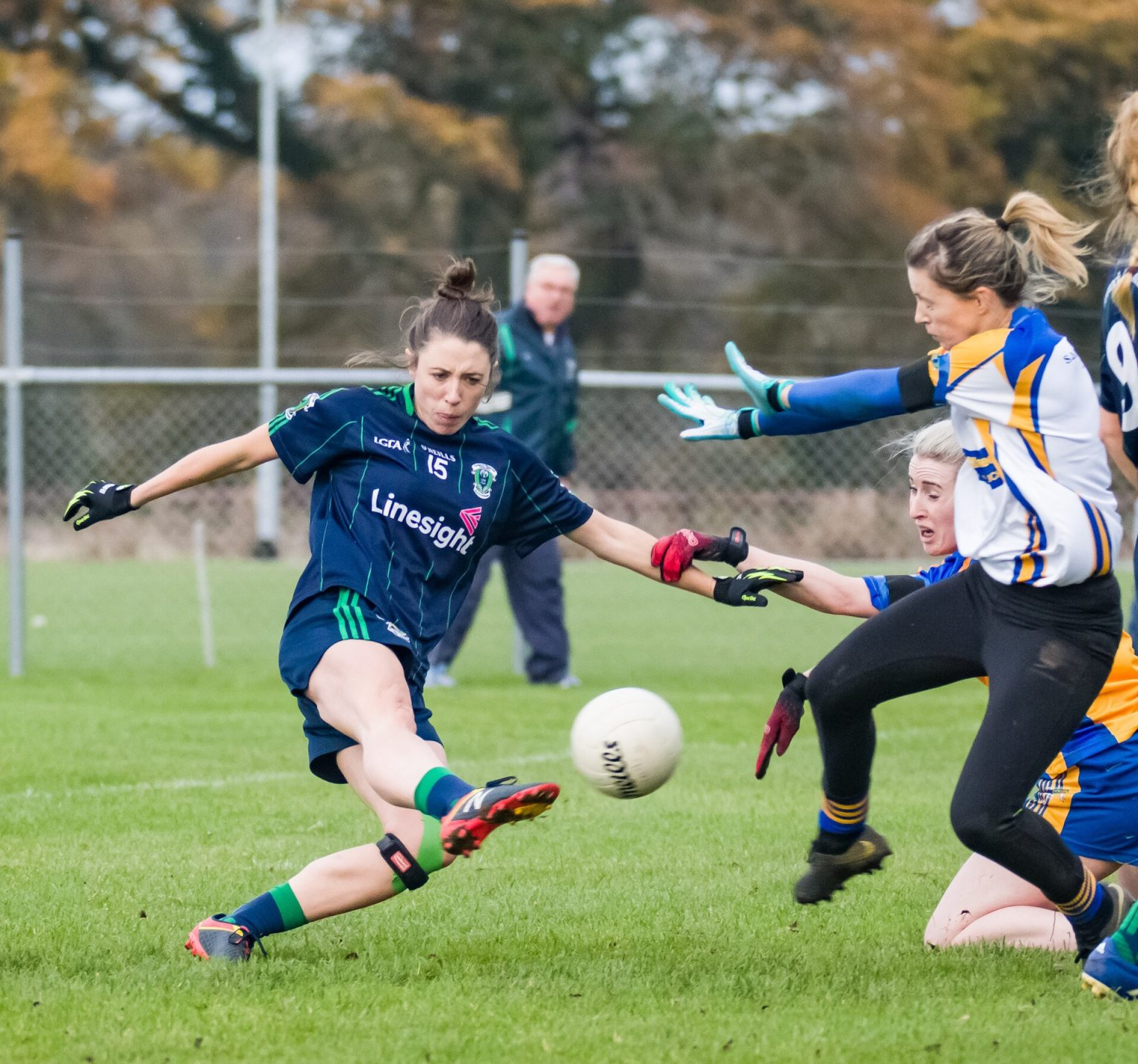 Foxrock Cabinteely Captain Amy Ring takes a shot at goal during the club championship