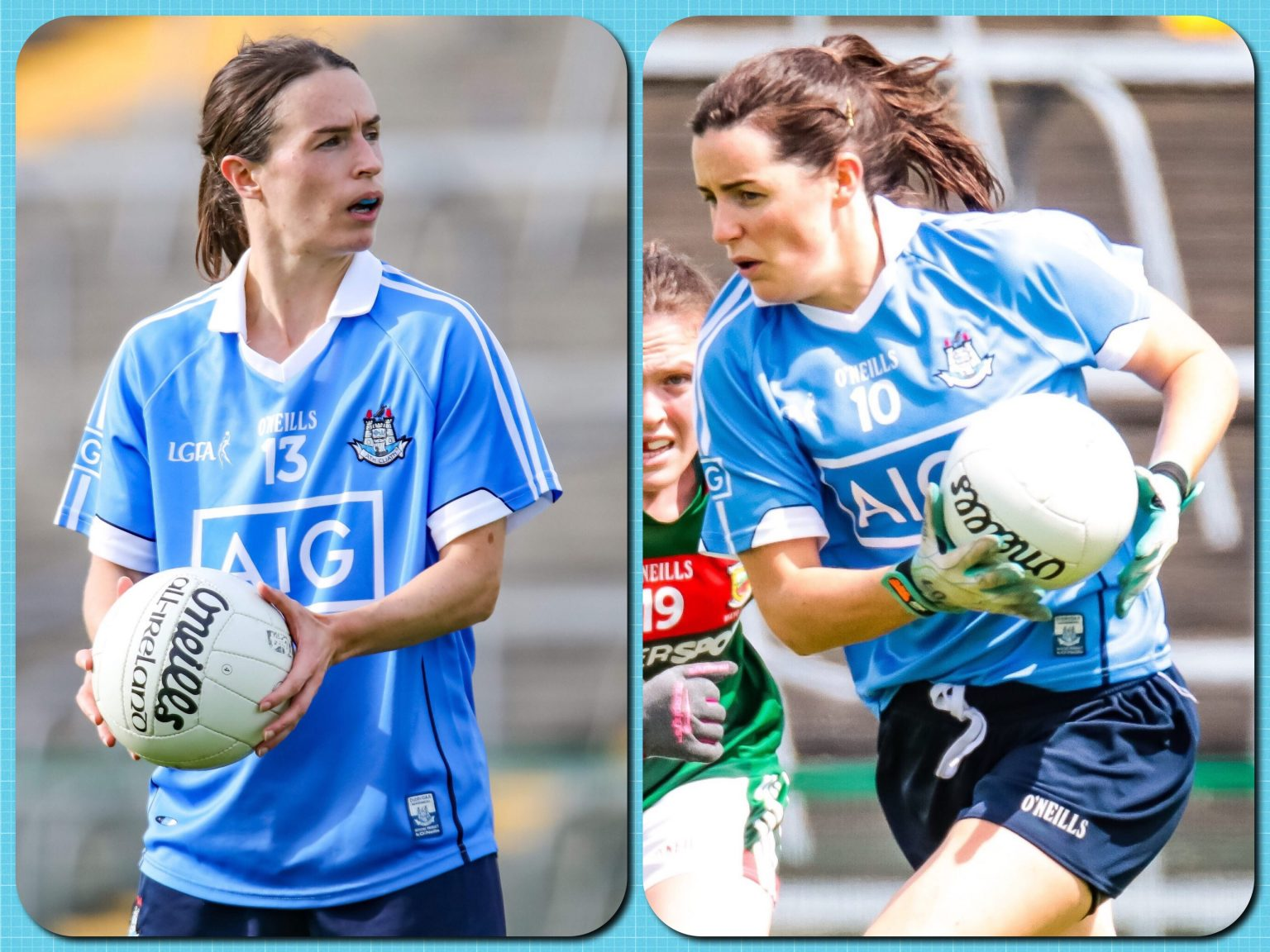 Action shots of Dublin ladies footballers Sinead Aherne and Lyndsey Davey in sky blue jerseys both players have been nominated for the Players Player Of The Year Award