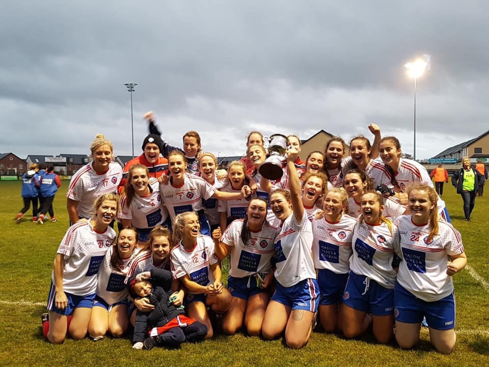 Squad photo of the Clontarf players before an All Ireland Ladies Football Club Championship game