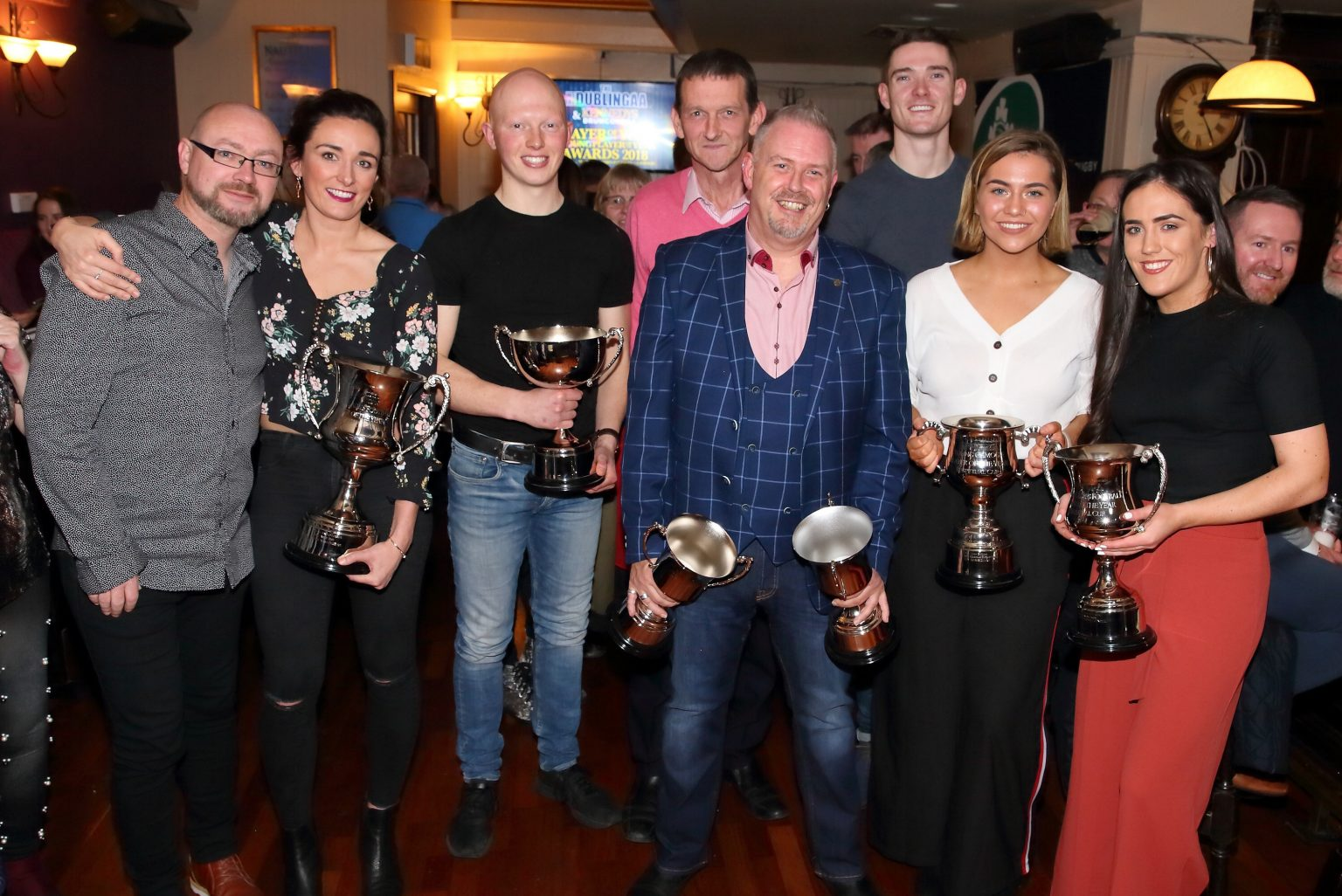 Some of the We Are Dublin GAA/Kennedy's Drumcondra Award Winners (From Left To Right) Noel Murphy (We Are Dublin GAA), Niamh McEvoy, Fergal Whitely, Martin Tynan (Kennedy's Drumcondra), Nigel McCarthy (We Are Dublin GAA), Brian Fenton, Aoibhe Dillon and Hannah O'Neill