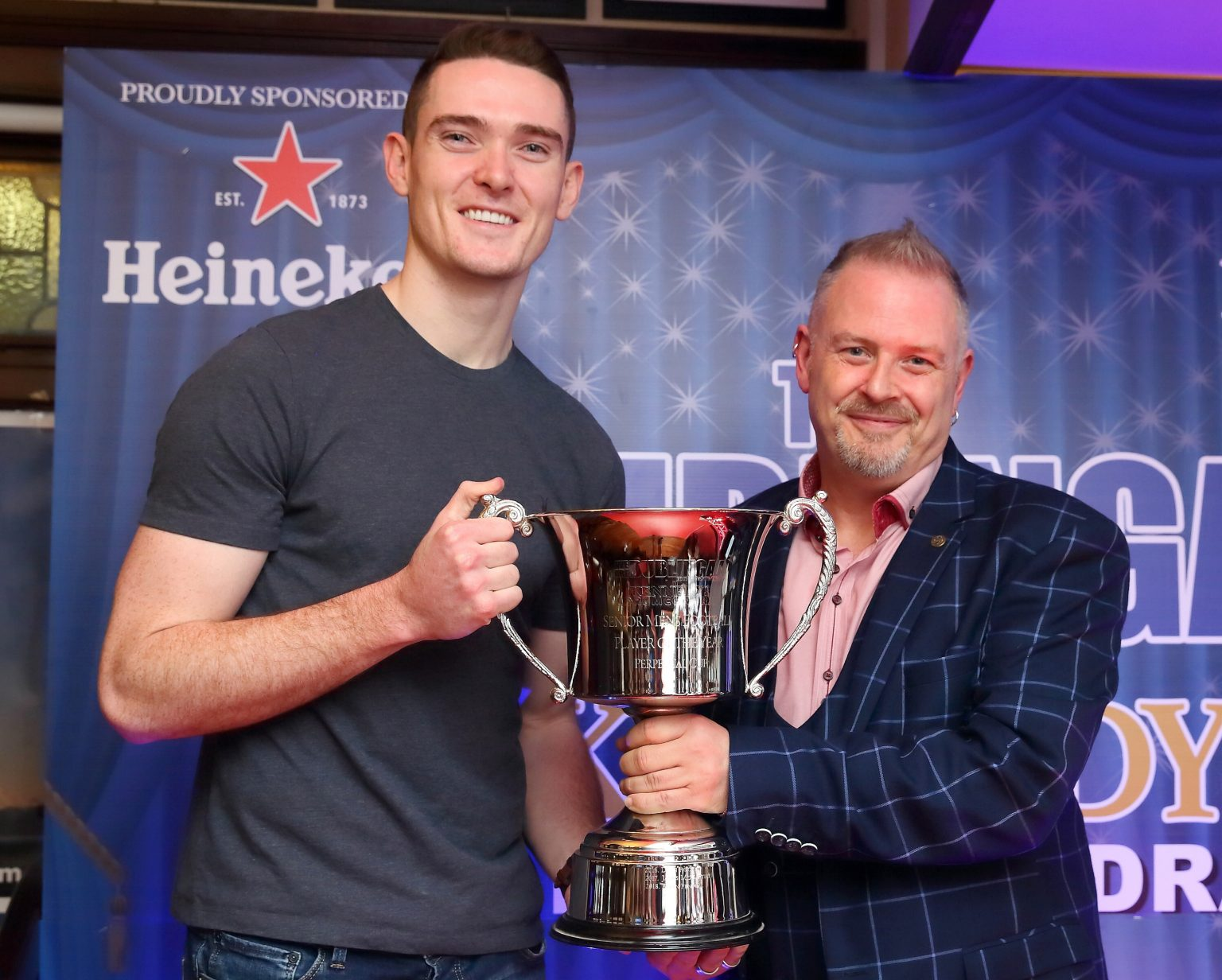 Dublin's Brian Fenton Is Presented With The Men's Football Player Of The Year Trophy by We Are Dublin GAA's Nigel McCarthy At the We Are Dublin GAA/Kennedy's Drumcondra Awards Night