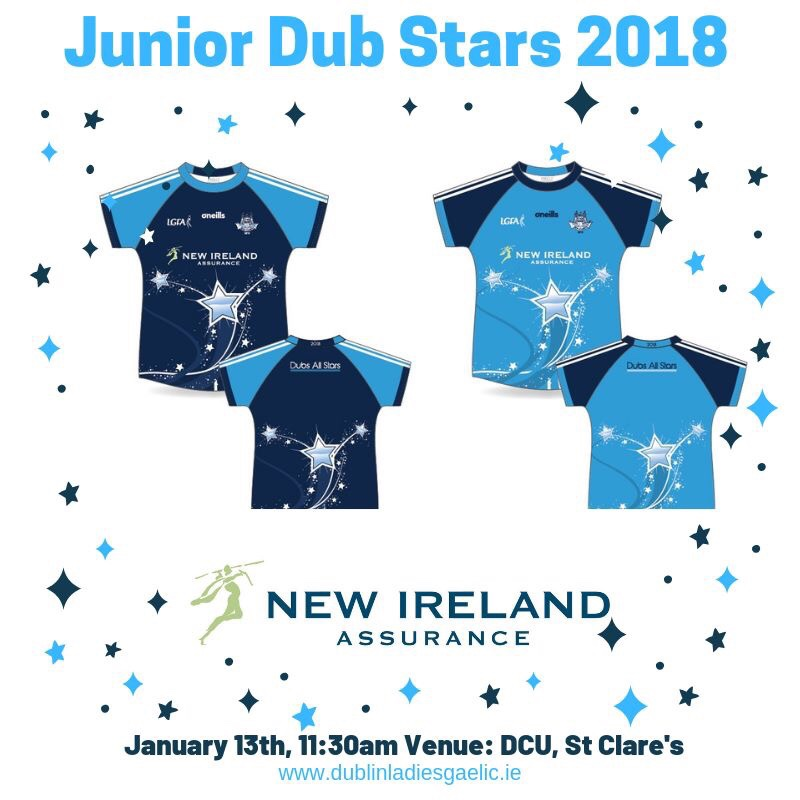 White poster with the front and back of a navy jersey with blue sleeves and a blue jersey with navy sleeves to advertise the Junior Dub Stars 2018 team announcement