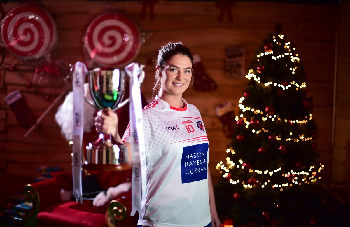 Sarah Murphy, captain of Clontarf, with the Ladies All-Ireland Intermediate Club Trophy during the 2018 All-Ireland Ladies Club Football Finals Captains Day at Croke Park in Dublin.