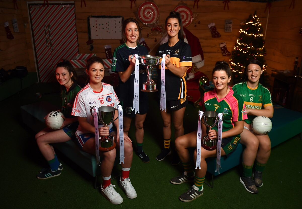 Captains from all six teams who will take part in this weekend's All Ireland Ladies Club championship finals
