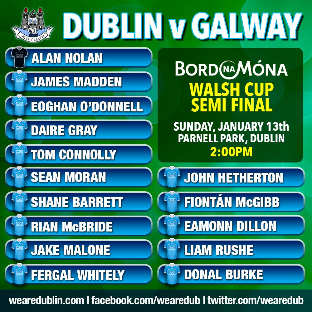 Walsh Cup Semi Final - Dublin Starting 15