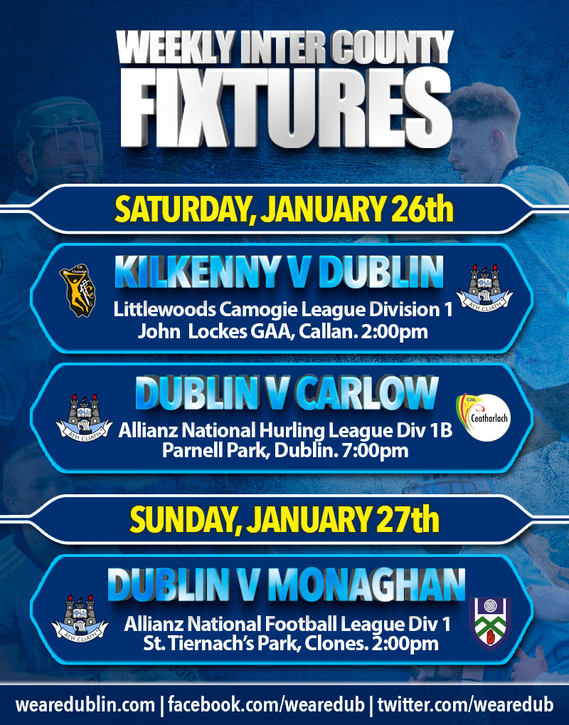 Weekly Inter County Fixtures 0126