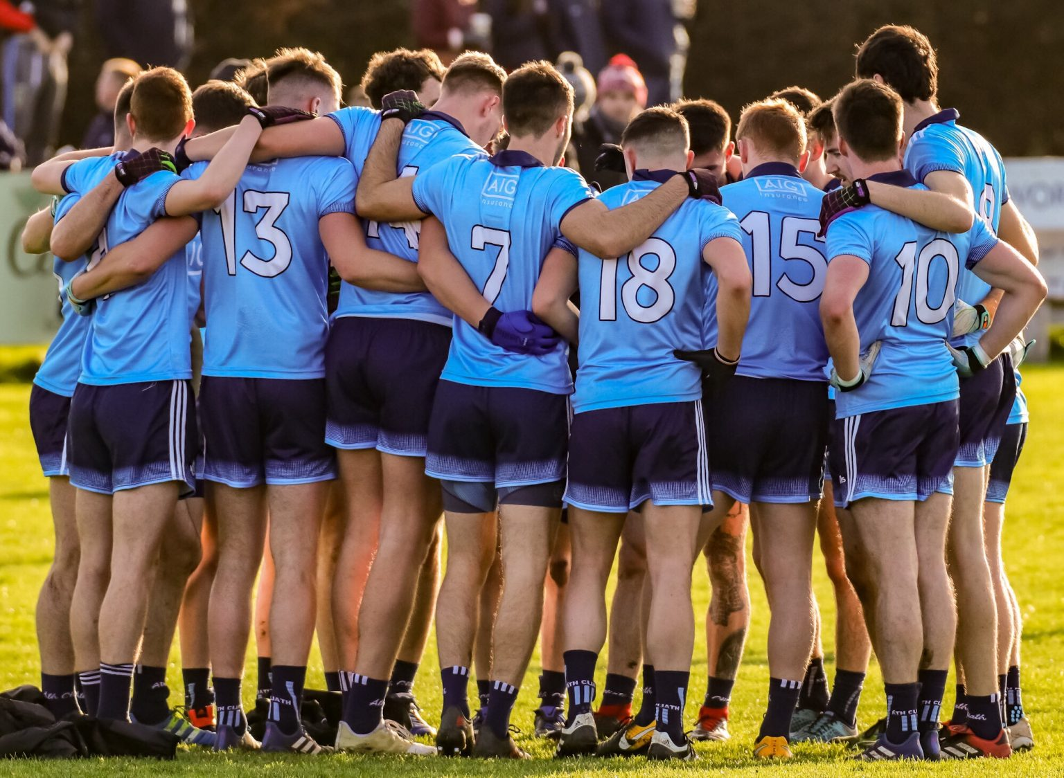 The dublin Senior Football Team in sky blue jerseys and navy shorts in a huddle before penalty shootout