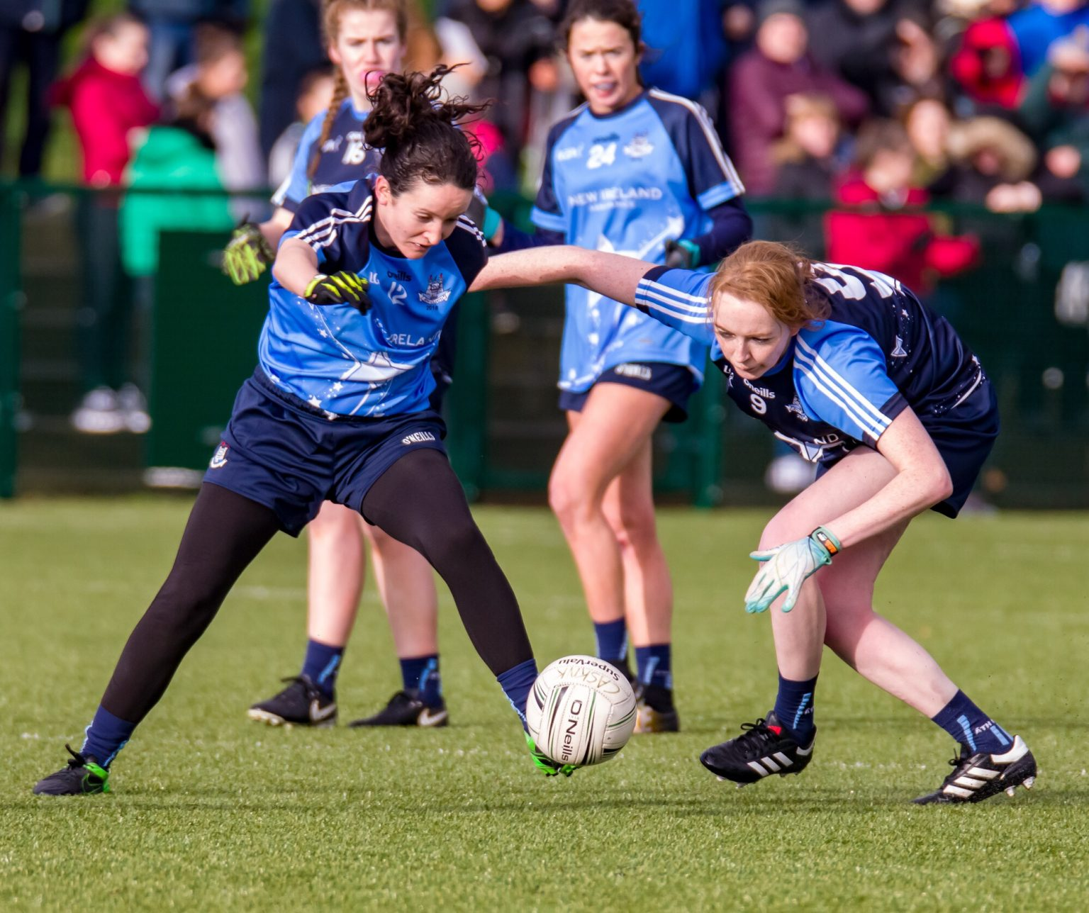 Two Ladies footballers battle for the ball during the Dublin LGFA Junior Dub Stars