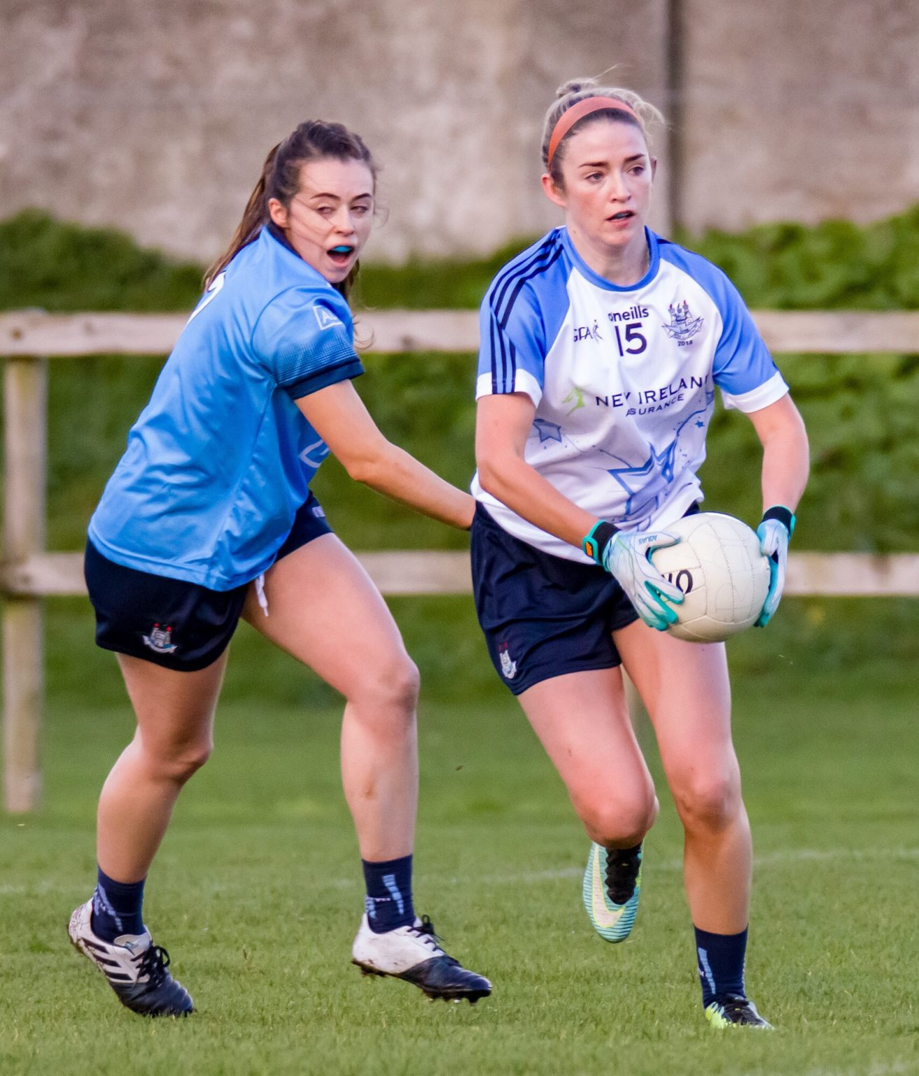 Dublin player Siobhán Killeen breaks away with the ball during the Dub Stars Challenge game.