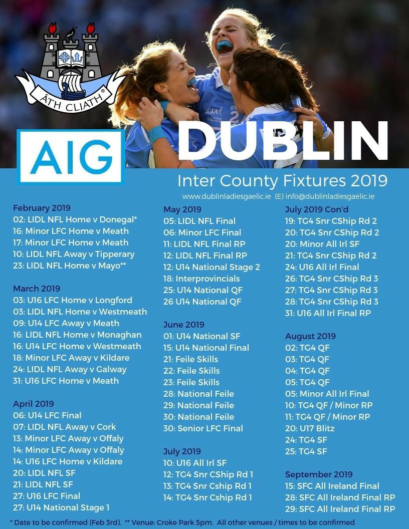 Three Dublin Ladies footballers hugging and celebrating and below the full list of Dublin Ladies football Fixtures for 2019