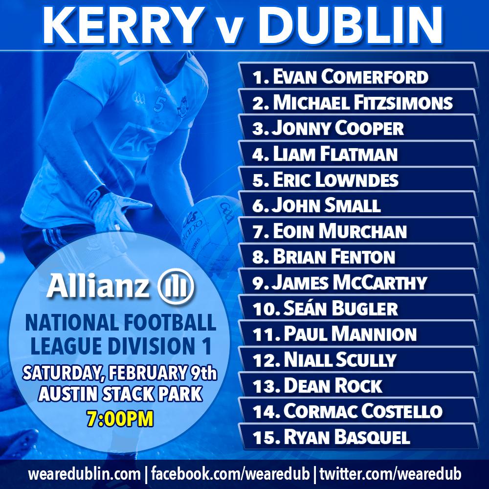 Dublin v Kerry - Starting 15