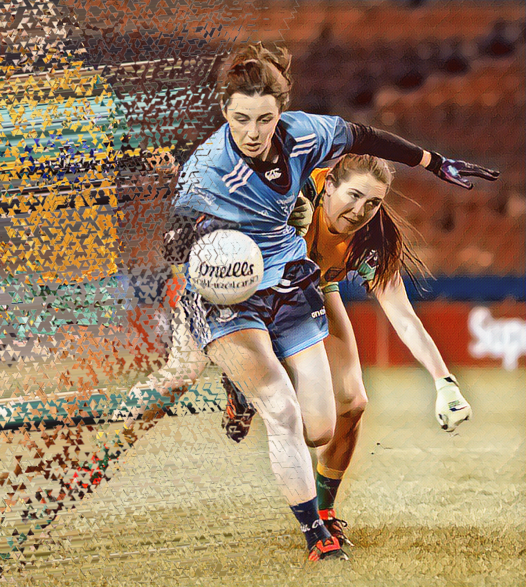 Dublin LGFA player in a sky blue jersey is tackled by a Donegal player in yellow jersey with green sleeves