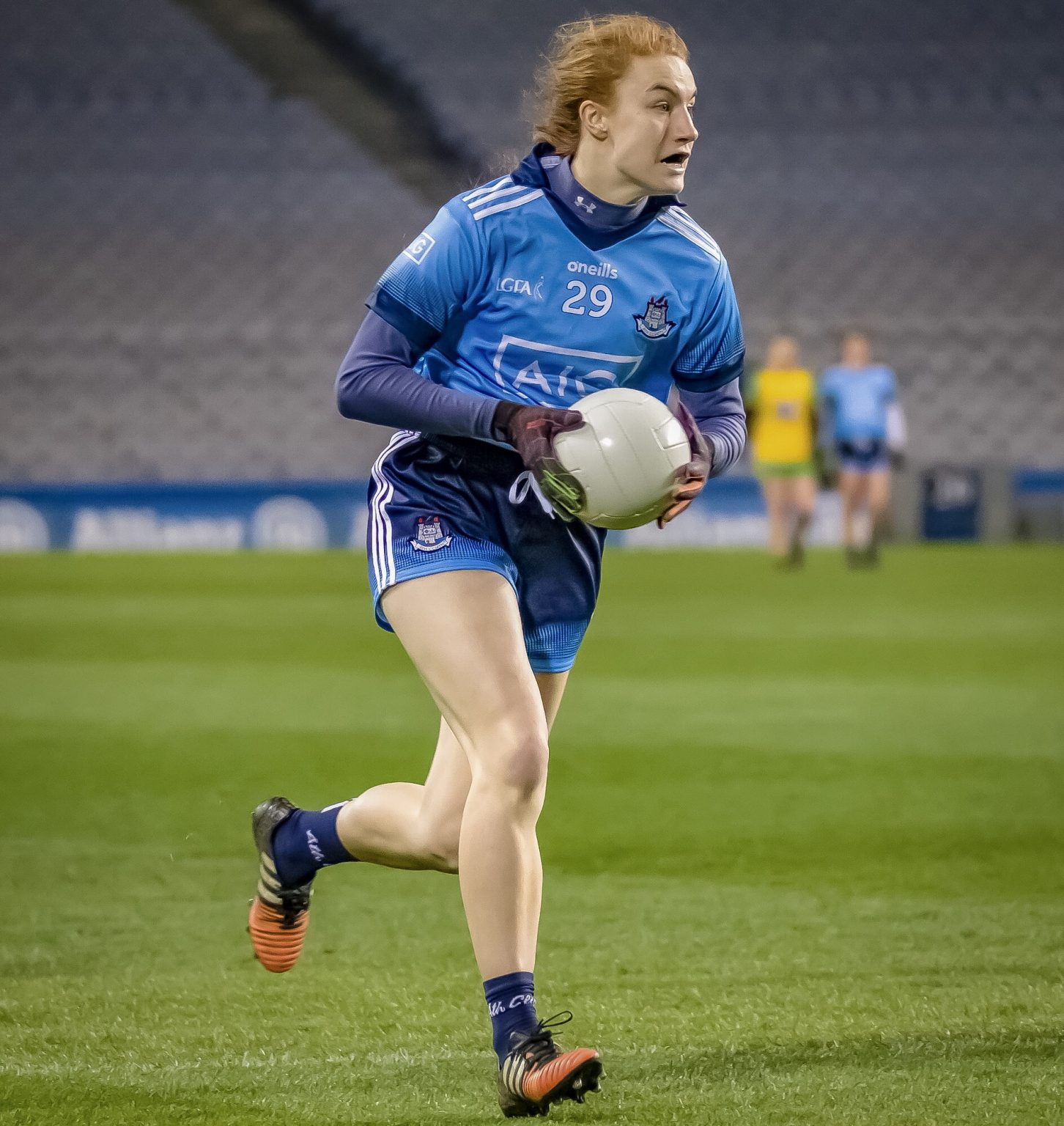 Dublin Ladies footballer Lauren Magee in a sky blue jersey and navy shorts is included to start for the Dublin Senior Ladies team against Tipperary