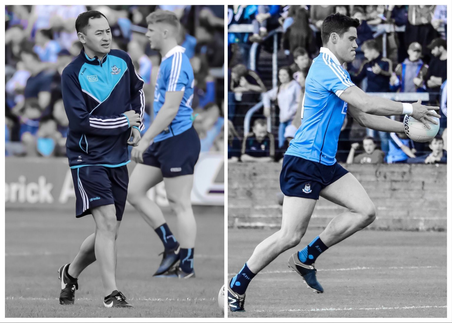 Dublin coach Jason Sherlock in a Navy and blue top and navy shorts and Dublin player Diarmuid Connolly in a sky blue jersey and navy shorts