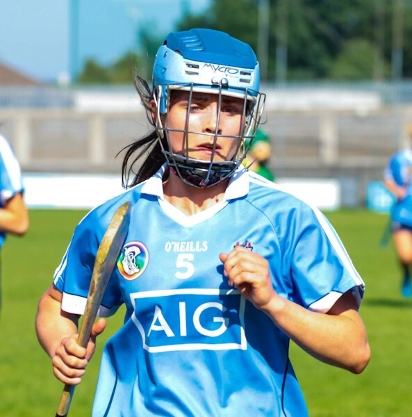 Dublin Camogie Player Hannah Hegarty in a sky blue jersey and blue and navy helmet is tipped as one of the players to watch in Ashbourne Cup weekend.