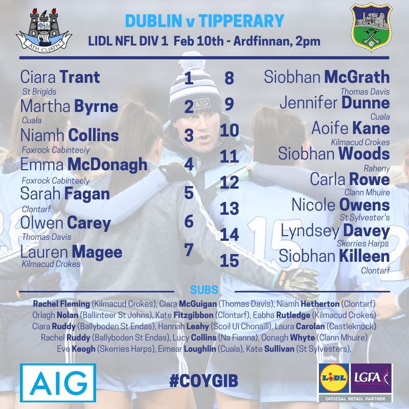 The list of names of the Dublin Senior Ladies team to face Tipperary in round 2 of the 2019 Lidl National Football League