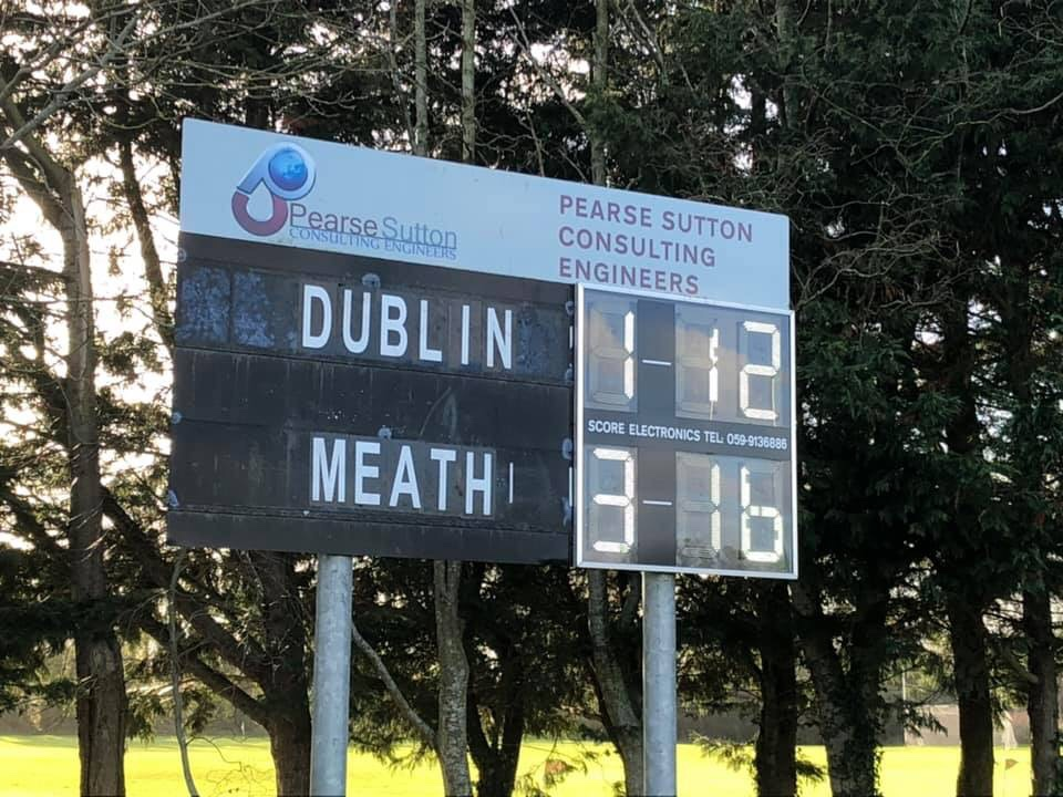 Scoreboard from the Meath and Dublin Minor Ladies Football Match