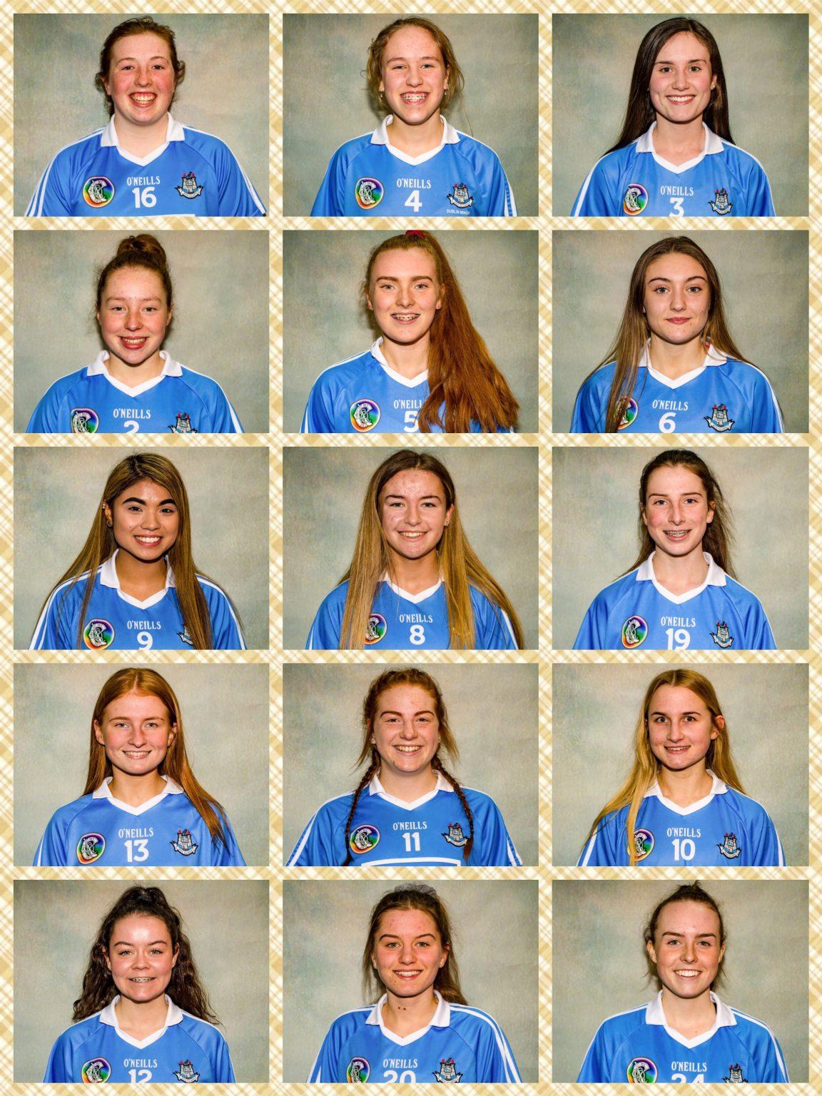 Head shots of the Dublin Camogie Minor Team