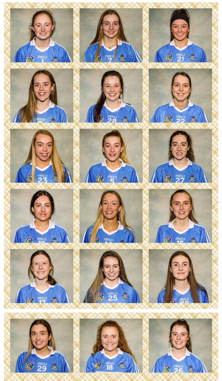 Head shots of the Dublin Camogie Minor Squad In sky blue jerseys