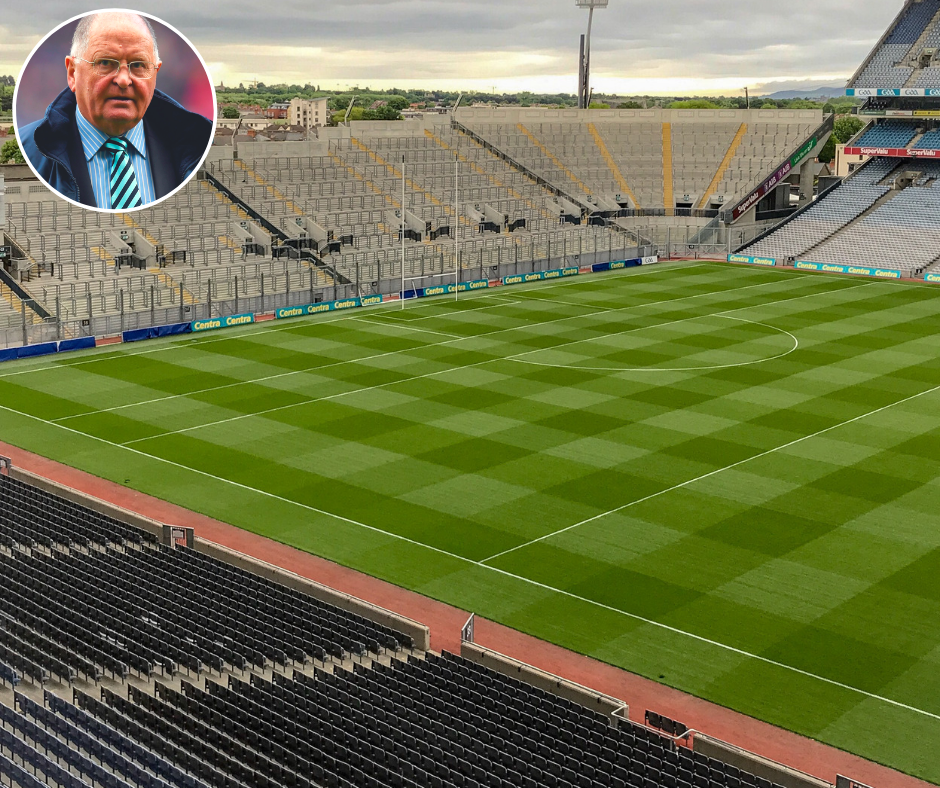Croke Park Stadium looking down from the stands at Hill 16 with a small profile picture of Dublin Chairman Sean Shanley