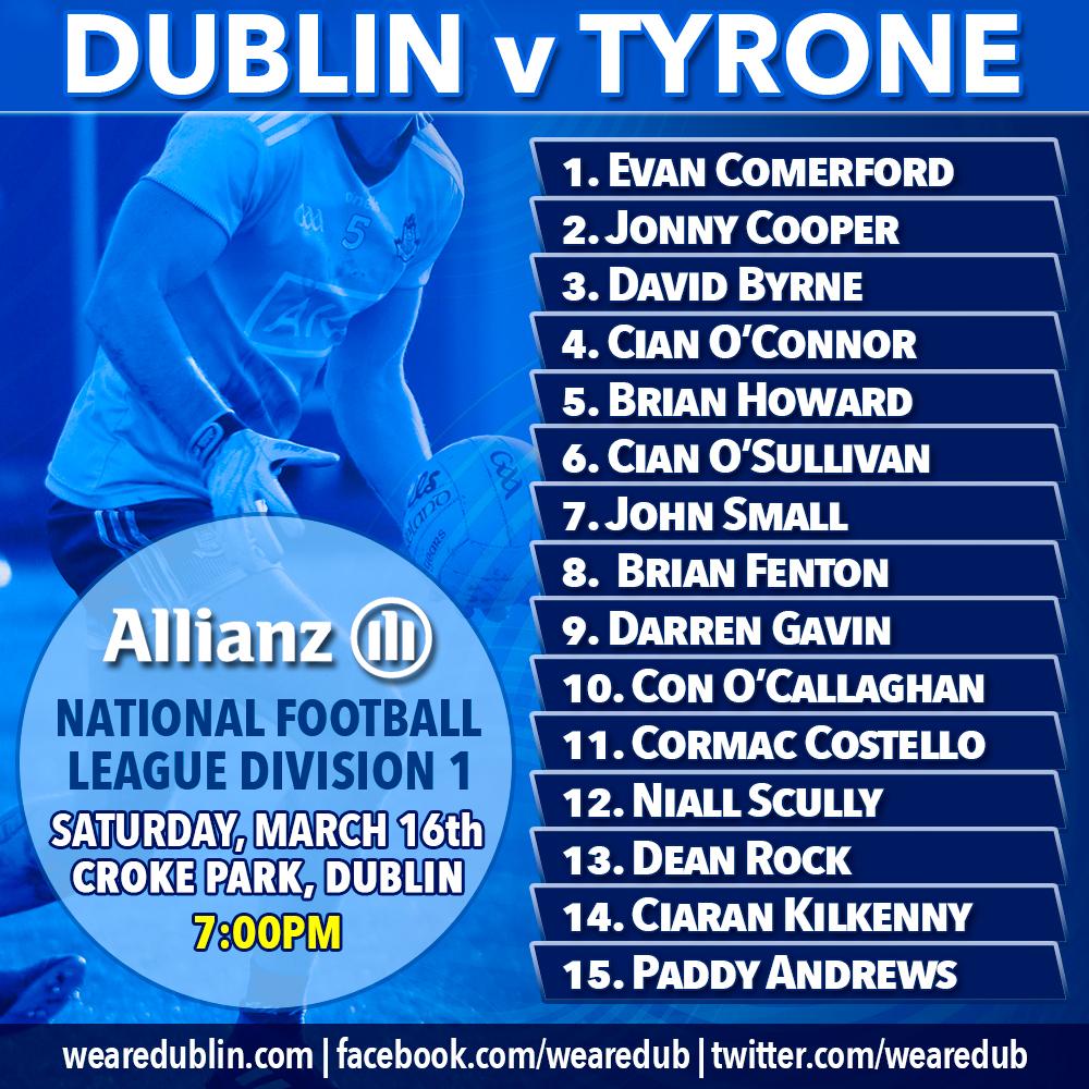 Dublin starting 15 v Tyrone - Allianz League