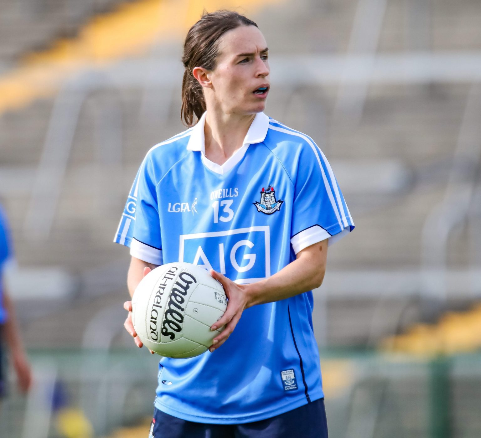Dublin's Sinead Aherne In a sky blue jersey along with Siobhan Woods scored the goals to defeat Galway