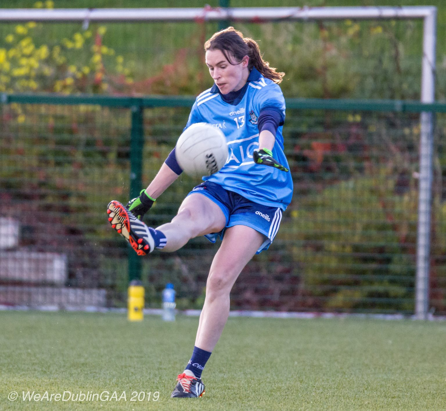 Dublin's Sinead Aherne In a sky blue jersey and navy shorts scored 3-03 to guide Dublin to a League Semi Final Spot