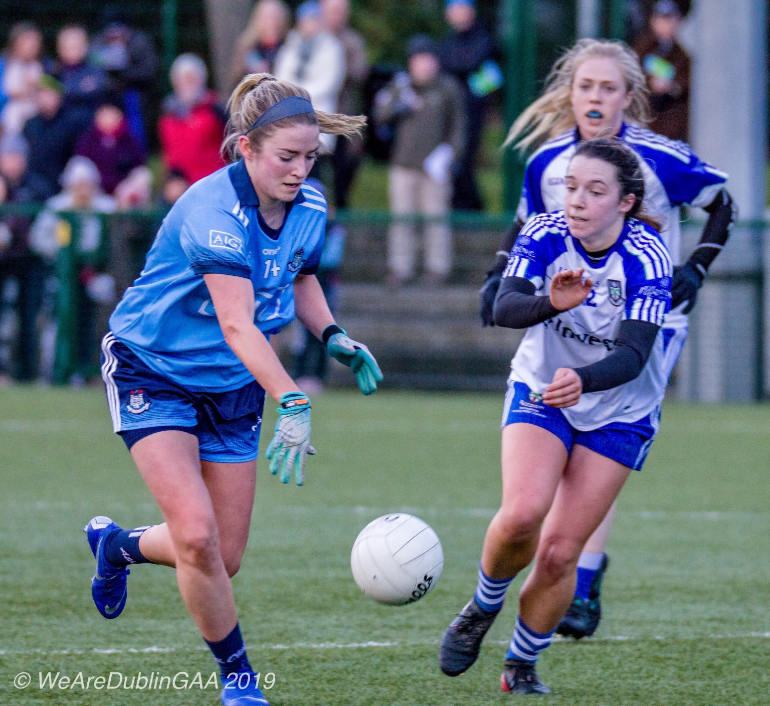 Dublin's Siobhan Killeen in a sky blue jersey and navy shorts scored one of Dublin's goals against Monaghan to help guide Dublin to a League Semi Final Spot