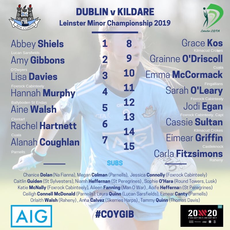List of names of the Dublin Ladies Minor Team To Play Kildare in Leinster championship