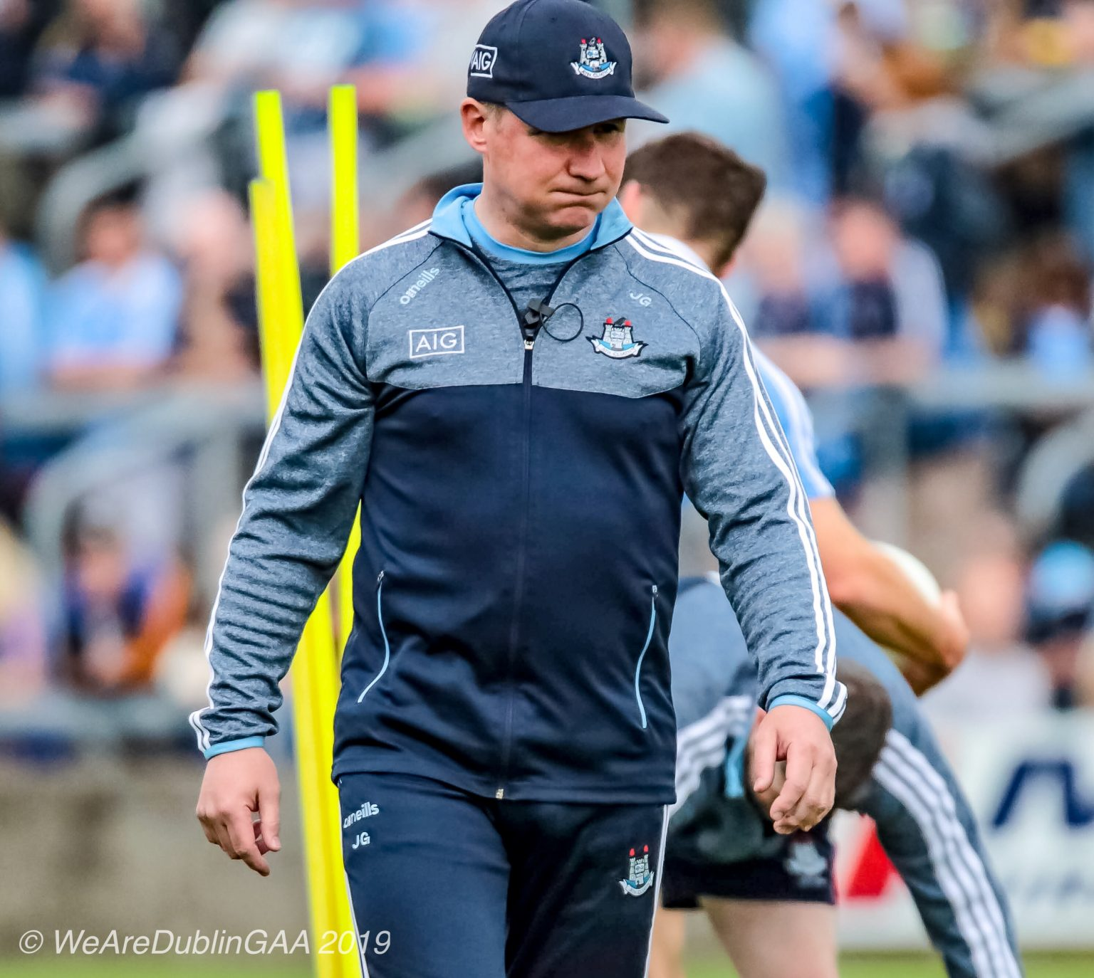 Dublin manager Jim Gavin in Navy and grey top, navy tracksuit bottoms and navy baseball cap has plenty to ponder about Dublin's League form