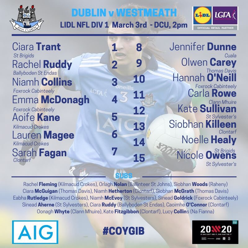 List of Dublin Senior Ladies Football Squad To Play Westmeath In the fourth round of the 2019 Lidl Ladies National Football League