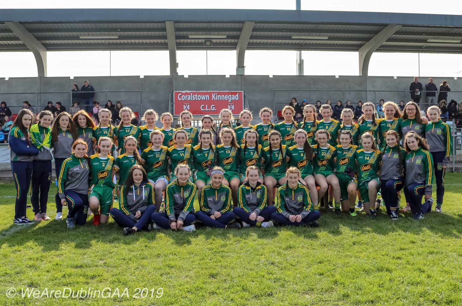 Meath Ladies Football Squad In green jerseys with yellow stripes across the front pictured before the U16 Leinster Ladies Football final