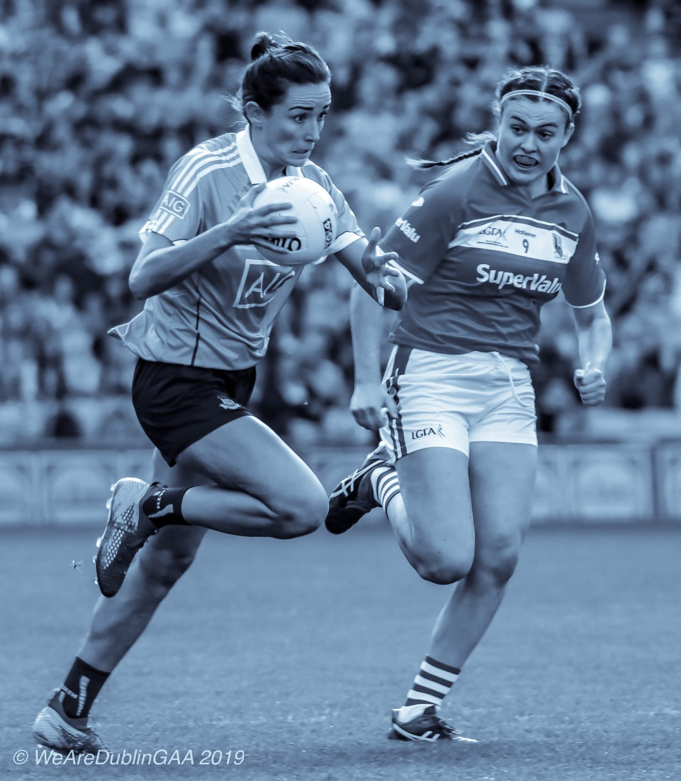 A dublin Ladies footballer and Cork Ladies footballer in action during the 2018 All Ireland Final, both sides meet again in the 2019 Lidl NFL semi final