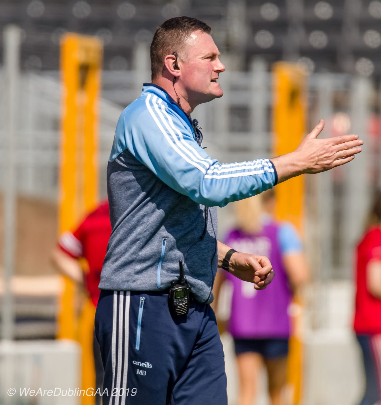 Dublin Manager Mick Bohan In a light grey top with sky blue sleeves has called for the tackle to be defined