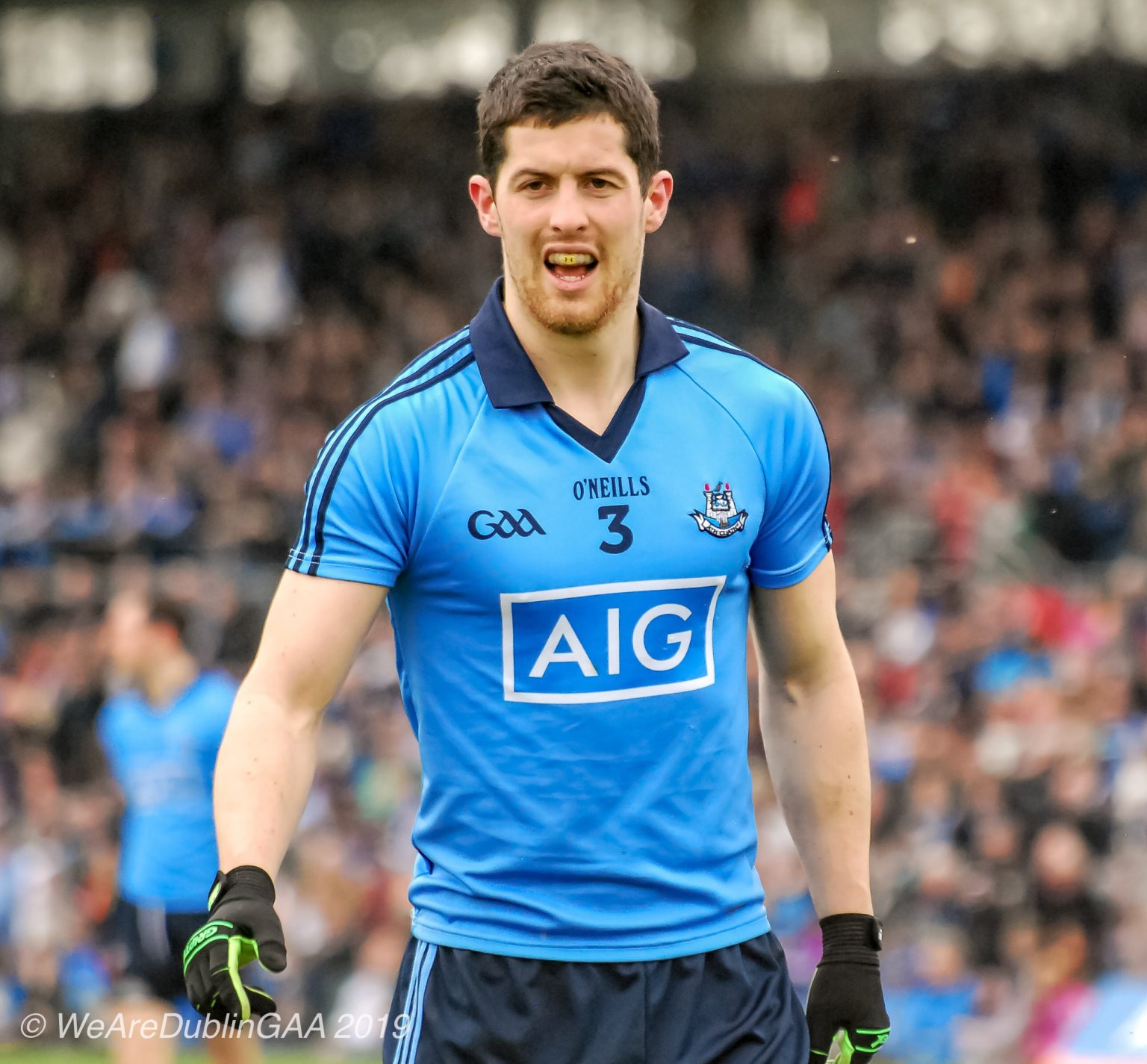 Dublin Footballer Rory O'Carroll In a sky blue jersey and navy shorts