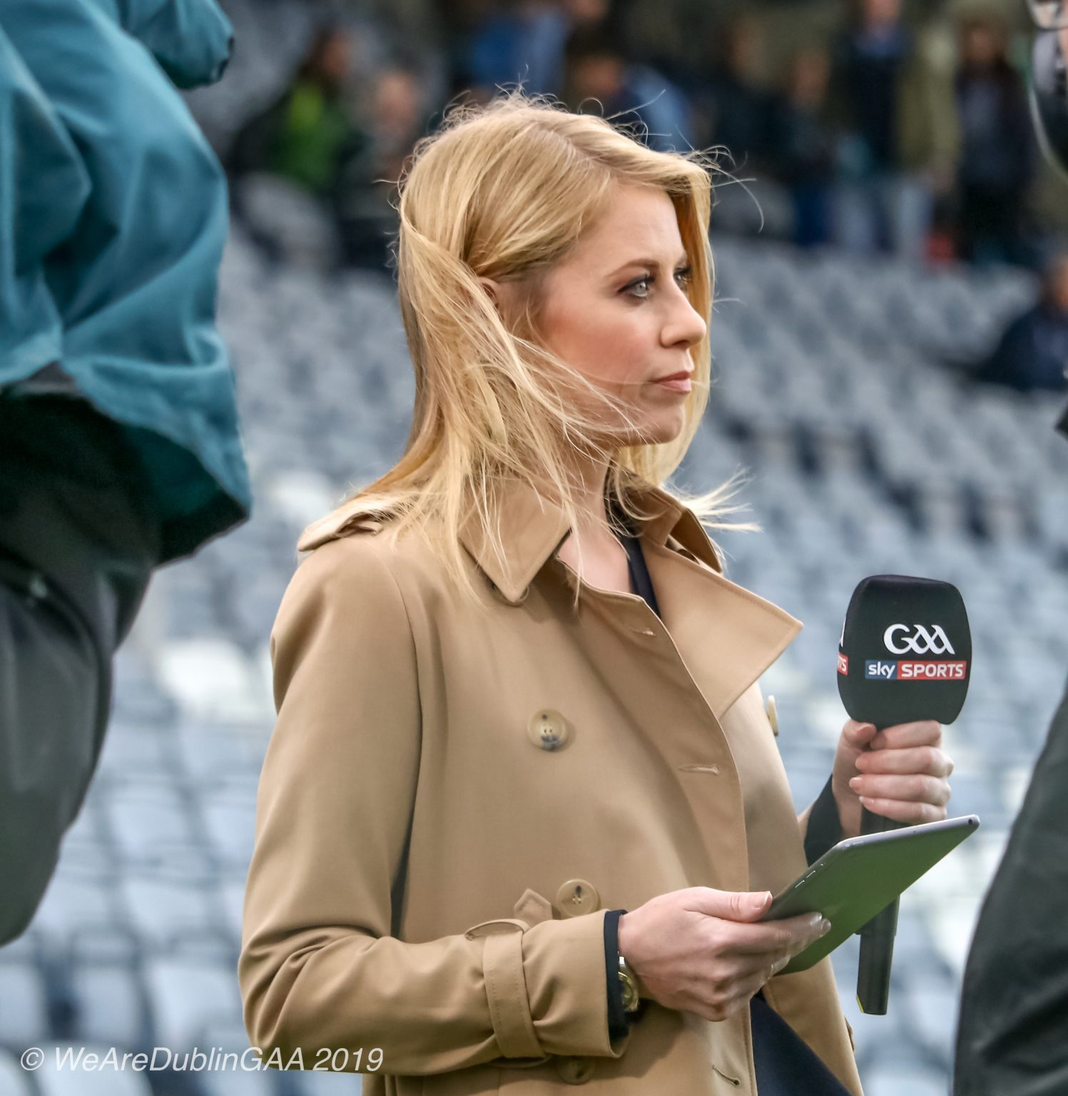 Sky Sports female presenter in a beige coat holding a microphone, Sky Sports 2019 GAA coverage is announced